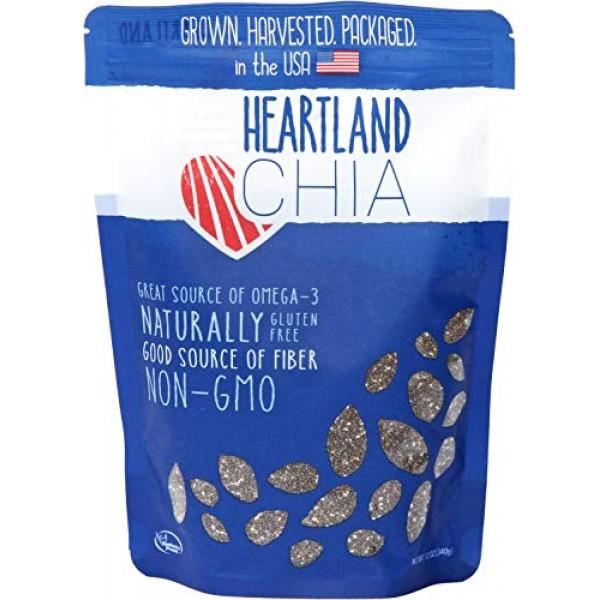 Heartland Chia, USA Grown Whole Raw Black Chia Seeds, 12 oz | Su...
