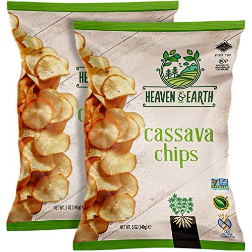 Heaven & Earth Cassava Chips, 5oz 2 Pack Gluten Free, Non GMO