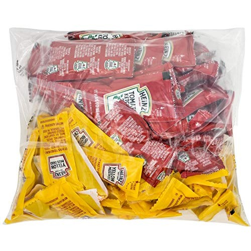 Heinz Condiment Packets Ketchup and Mustard 100 Total; 50 Each ...