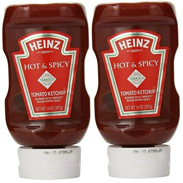 Heinz Hot & Spicy Tomato Ketchup with Tabasco Pack of 2 14 oz ...