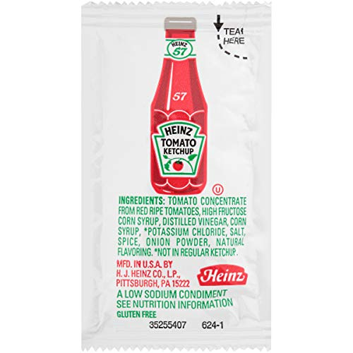 Heinz Low Sodium Ketchup Single Serve Packet 0.3 oz Packets, Pa...