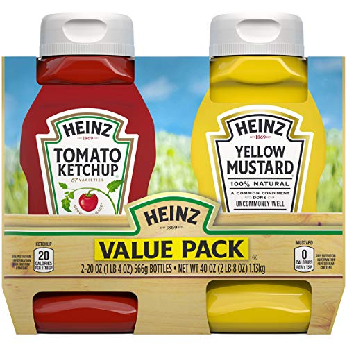 Heinz Tomato Ketchup & Yellow Mustard Twin Pack 20 oz Bottles, ...