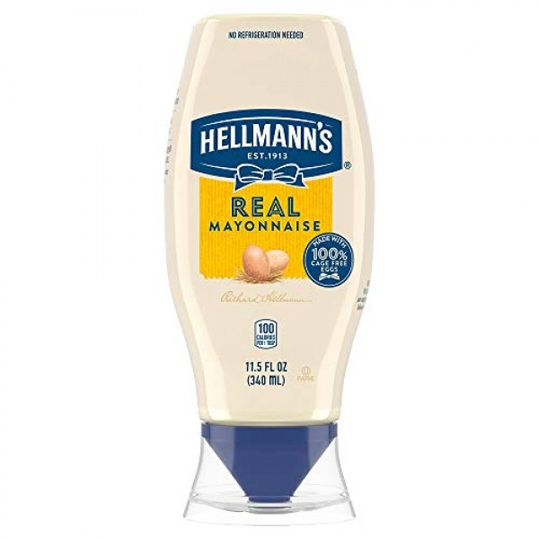 Hellmanns Real Mayonnaise Squeeze Bottle Made from 100% Recycle...