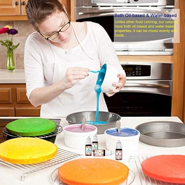 16 Colors Food Coloring Set, HEMOER Tasteless Oil Water Based Fo...