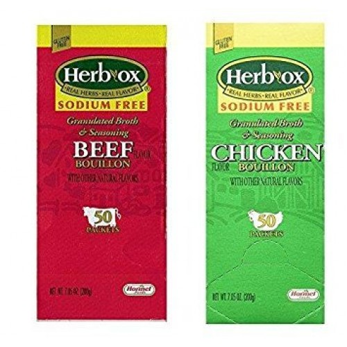 Herb-Ox Sodium Free Bouillon Bundle,`Beef and Chicken, 100 Total...