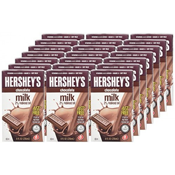 Hersheys chocolate flavored milk , 21- 8 Ounce Aseptic Boxes