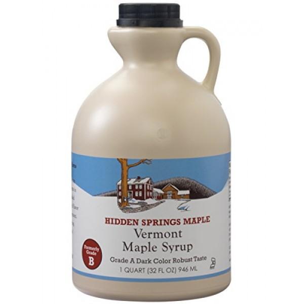 Hidden Springs 100% Natural Vermont Maple Syrup, Grade A Dark Ro...
