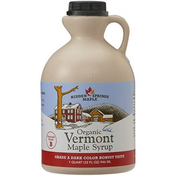 Hidden Springs Maple Organic Vermont Maple Syrup, Grade A Dark R...