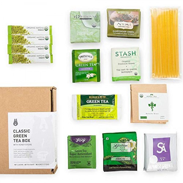 Green Tea Sampler 40 Teabags with 10 Honey Sticks