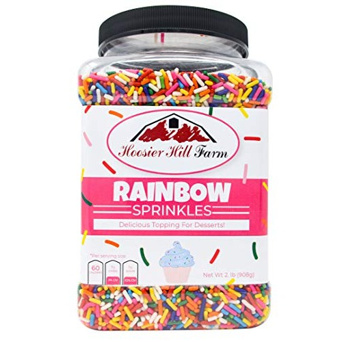 Hoosier Hill Farm Rainbow decorating Sprinkles, Large 2 lbs Jar