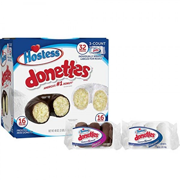 Hostess Mini Powered Donettes and Frosted Chocolate Mini Donette...