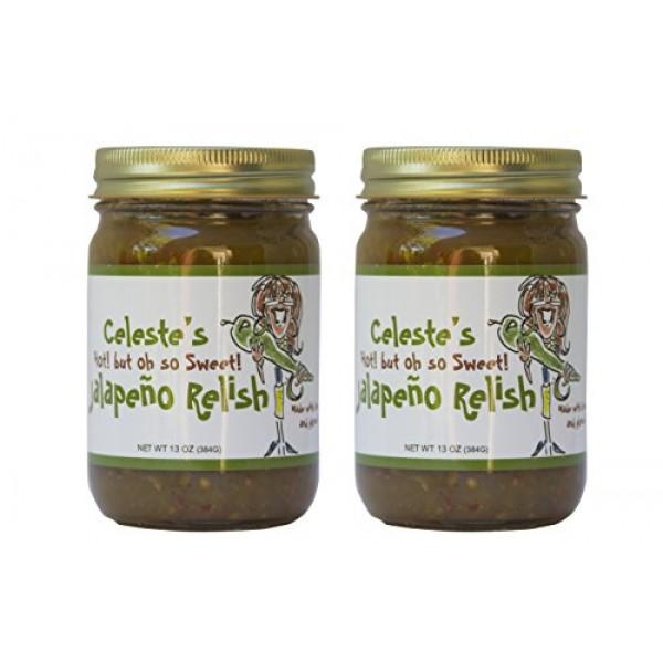 Celestes Hot But Sweet Jalapeño Relish Regular, 2 Pack