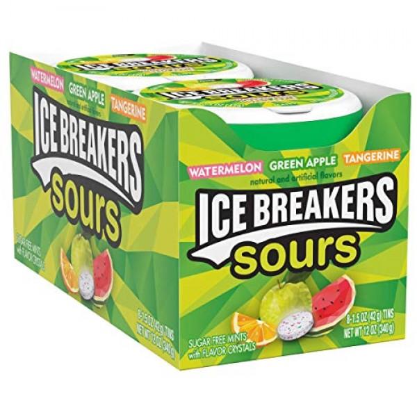 ICE BREAKERS Sours Sugar Free Mints, Watermelon, Green Apple, T...