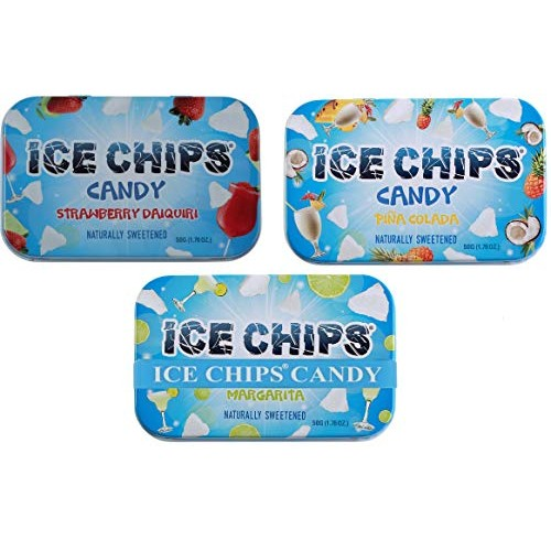 ICE CHIPS Xylitol Candy 3 Pack Assortment Strawberry Daiquiri, ...