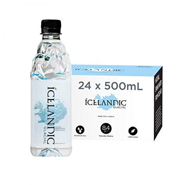 Icelandic Glacial Natural Spring Alkaline Water, 500 mL 24 Count