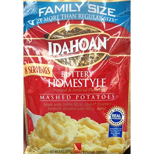 Idahoan BUTTER HOMESTYLE Mashed Potatoes FAMILY SIZE 8oz. 3 Pack
