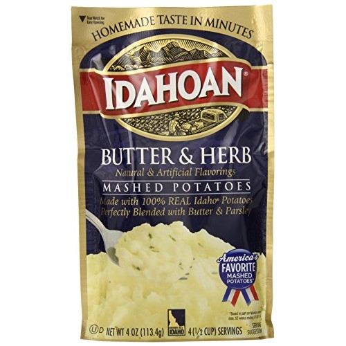 Idahoan Mashed Potatoes, Butter and Herb, 4 Ounce Pack of 12