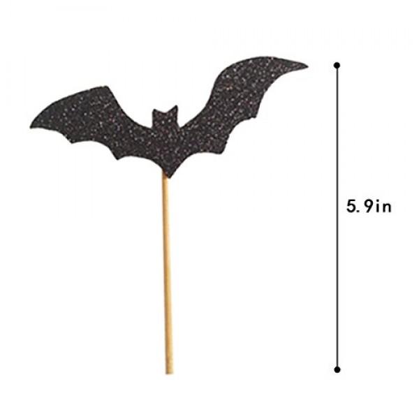 20 Pack Halloween Black Bat Cupcake Topper, Fashion Party Straw ...