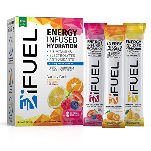 iFUEL - Energy Infused Hydration drink mix | Zero Sugar | 7 B-V...