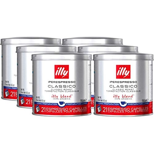 Illy iperEspresso Lungo 21 Count Coffee Capsules Pack of 6