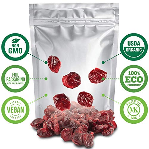 Dried Cranberries Organic 2lbs, Non GMO, Vegan, Unsulphured No...