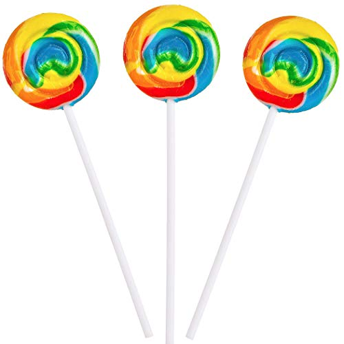 Rainbow Swirl Lollipops - 12 Suckers