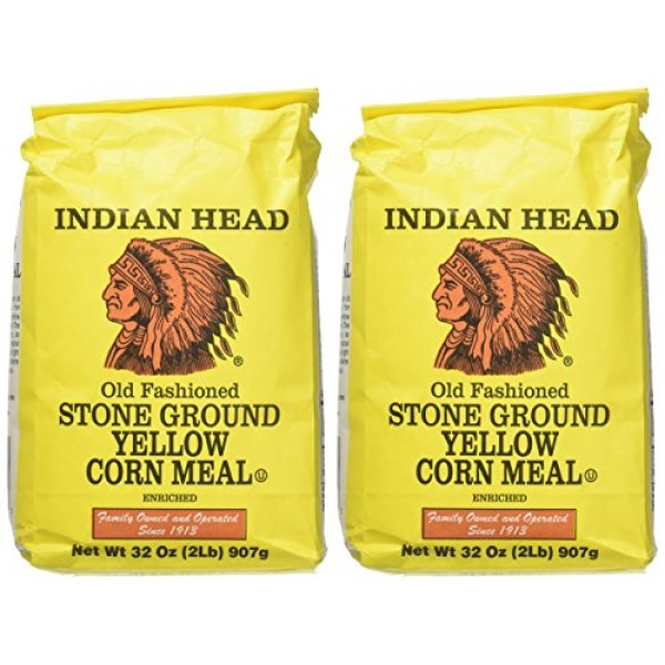 Indian Head Old Fashioned Stone Ground Yellow Corn Meal 2 Pack...