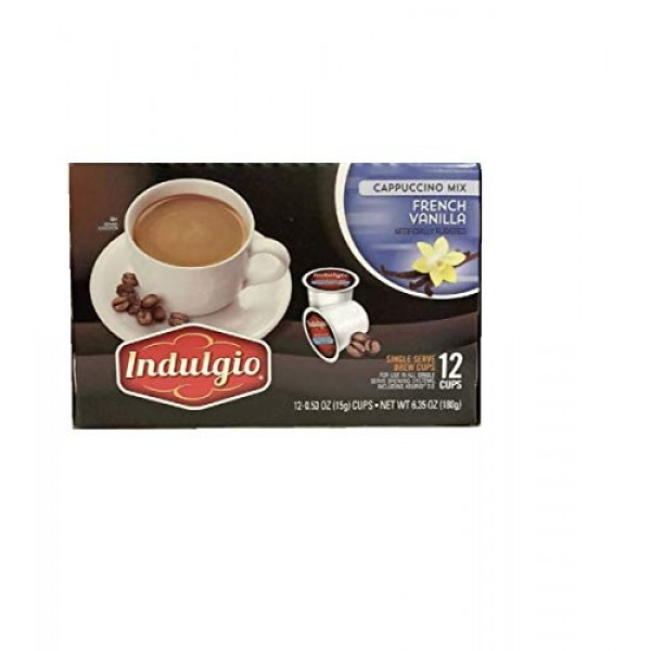 French Vanilla Cappuccino Mix Single Brew K Cups by Indulgio. 12...