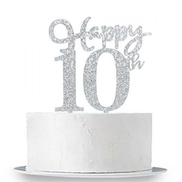 Happy 10th Cake Topper, Glitter Silver 10th Birthday Wedding Ann...