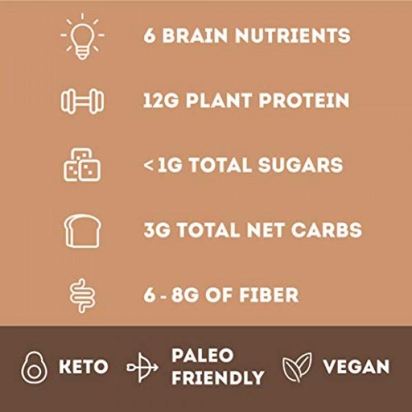 IQBAR Brain + Body Protein Bars, Chocolate Lovers Variety, Keto,...