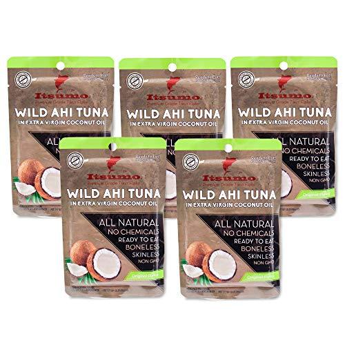 Tuna Keto Snack Pouch - No Carbs Wild Ahi Tuna in Coconut Oil P...