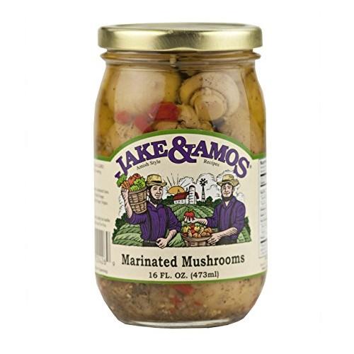Jake & Amos Marinated Mushrooms, 16 Oz. Jar Pack of 2