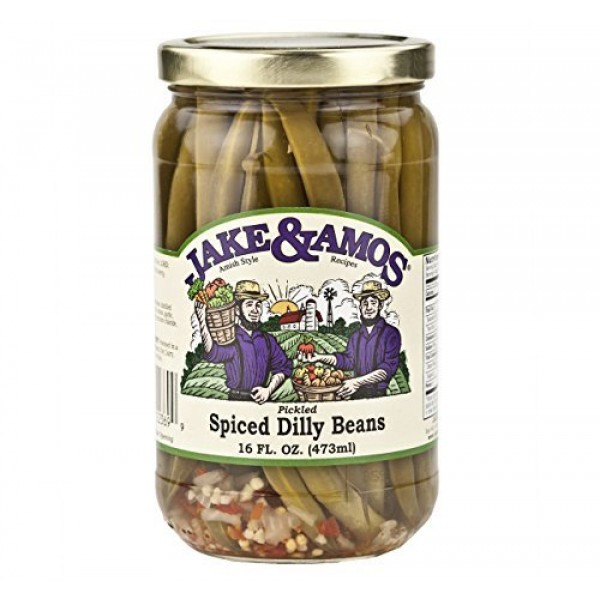 Jake & Amos Pickled Spiced Dilly Beans, 16 Oz. Jar Pack of 2