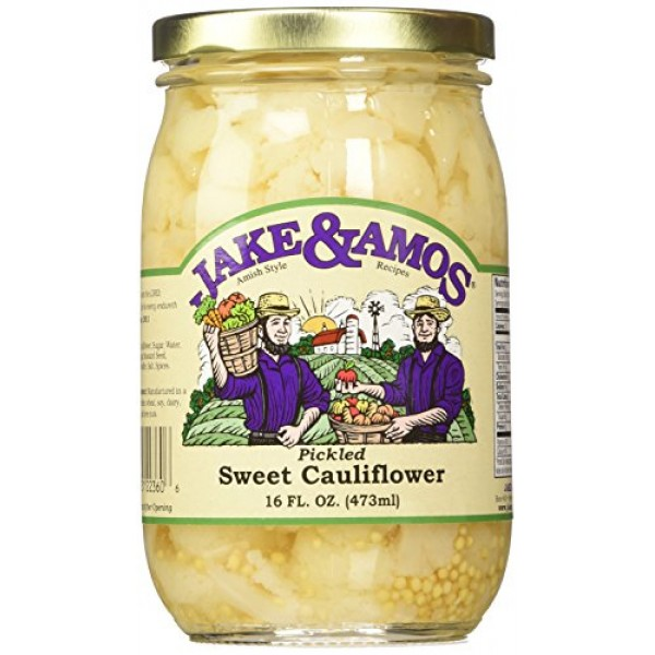Jake & Amos Pickled Sweet Cauliflower, 16 Oz. Jar Pack of 2