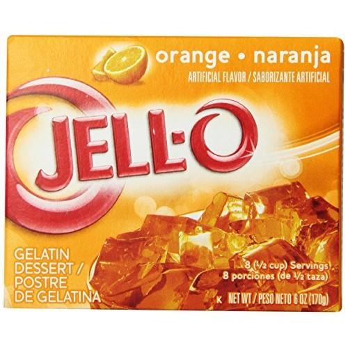 Jell-O Gelatin Dessert Orange, 6 oz Pack of 18