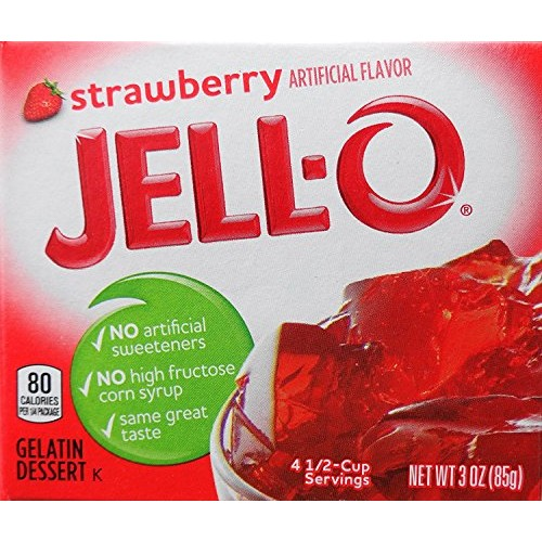 Jell-O Gelatin Dessert, Strawberry Flavor, 3-Ounce Box Pack of 5