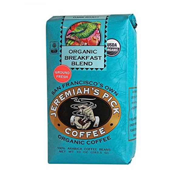 Organic Breakfast Blend - Ground Coffee for Drip - 10oz, Caffein...