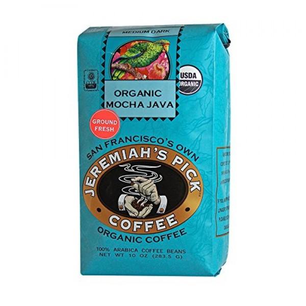Jeremiahs Pick Coffee Organic Mocha Java Ground Coffee, 10-Ounc...