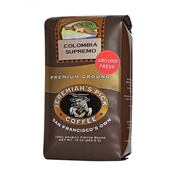 Jeremiahs Pick Coffee Colombia Supremo Ground Coffee, 10-Ounce ...