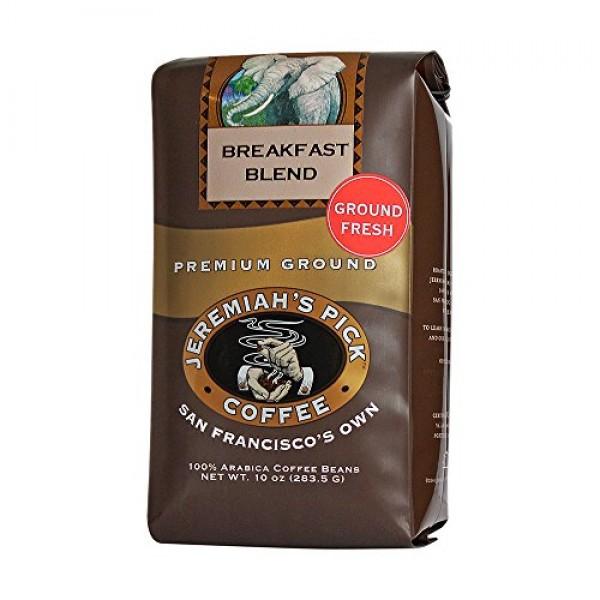 Jeremiahs Pick Coffee Breakfast Blend Ground Coffee, 10-Ounce B...