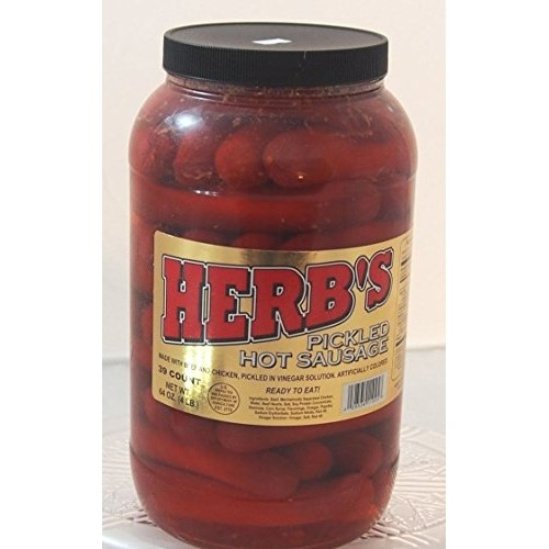 Herbs RED HOT Pickled Sausage 1 Gal. Jar 39 Count Beef & Chick...