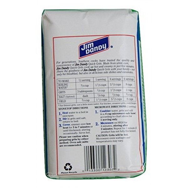 Jim Dandy Enriched White Corn Quick Grits 2-Pound Bag Pack of 2