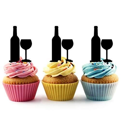TA0879 Wine Bottle Glass Silhouette Party Wedding Birthday Acryl...