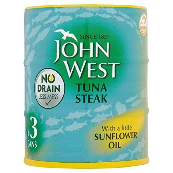 John West Tuna Steak in Sunflower Oil No Drain 3x120g
