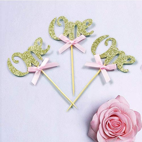 1st First Birthday Cupcake Toppers- 50pcs Baby Girl BoyChampagn...