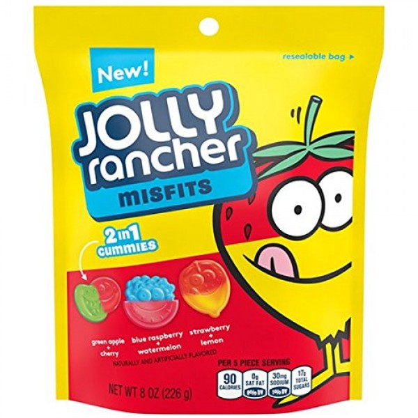 Jolly Rancher Misfits 2 in 1 Gummies Candy 8 oz Resealable bag -...