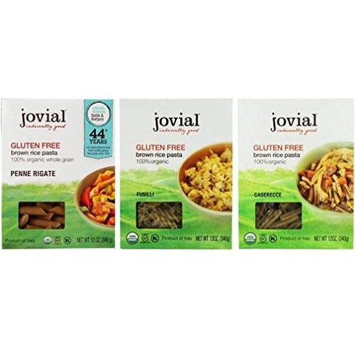 Jovial Organic Gluten-Free Brown Rice Italian Pasta 3 Shape Vari...