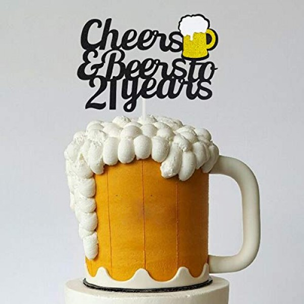 21 Birthday Cake Topper,Cheers & Beers to 21 Years Cake Topper,2...