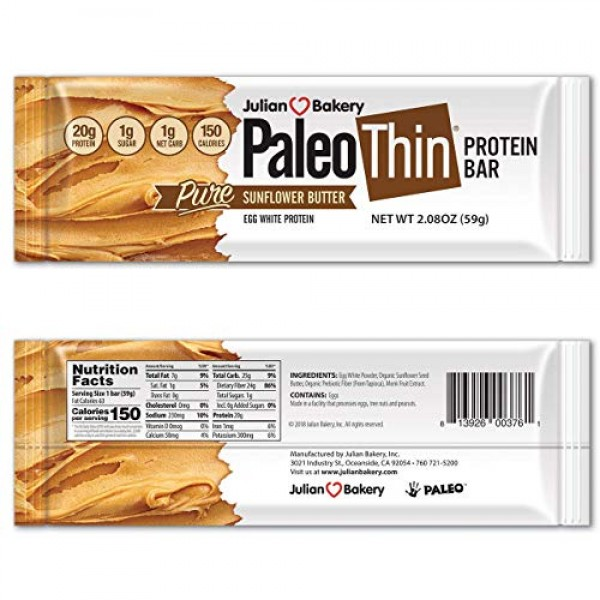 Paleo Thin Protein Bar Organic Sunflower Butter 150 Cal, 20g...