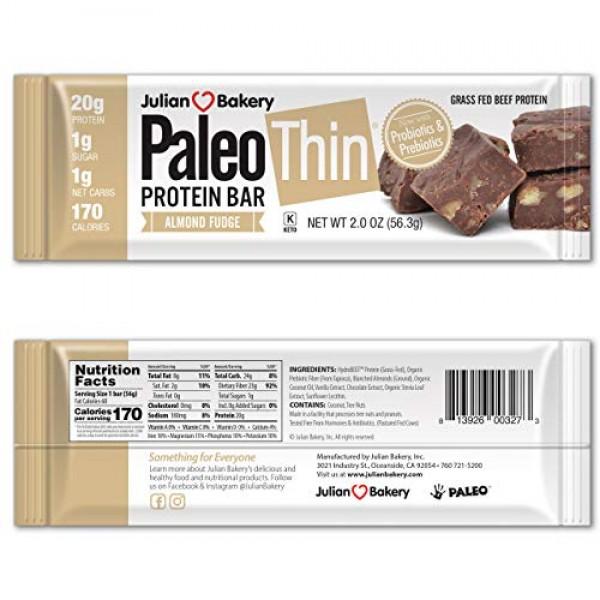 Julian Bakery Paleo Thin Protein Bars Almond FudgeGrass-Fed ...